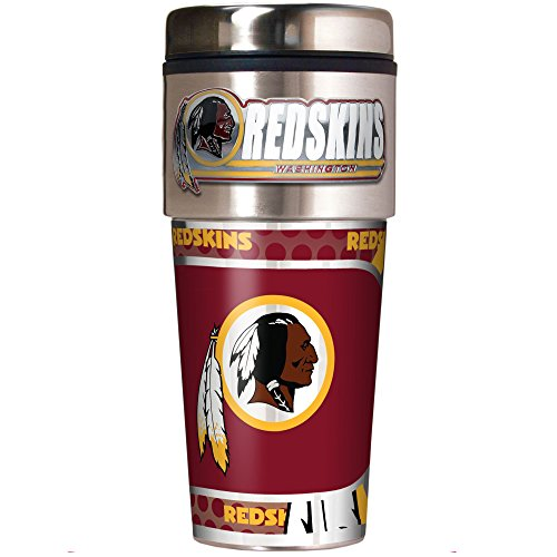 NFL Washington Redskins Metallic Travel Tumbler, Stainless Steel and Black Vinyl, 16-Ounce - Washington Redskins Holder