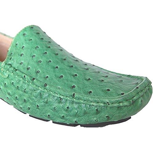 Skoen Kunstnere Penger Grønn Eksotisk Struts Faux Slip På Loafers