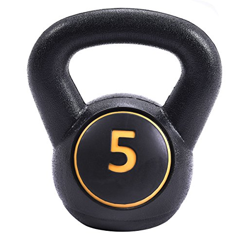 Giantex Home Gym 3 Pcs Vinyl Kettlebell Kit Body Muscles Training Weights 5 10 15lbs Set