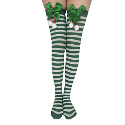 Womens Christmas Stocking WINJUD Stretchy Knee High Xmas Print Trouser Socks at Women's Clothing store