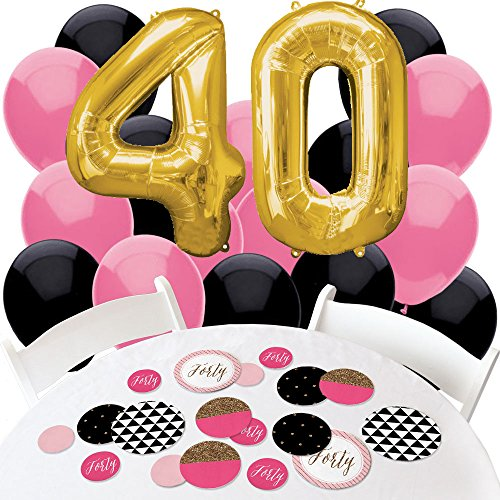 Chic 40th Birthday - Pink, Black and Gold - Confetti and Balloon Birthday Party Decorations - Combo Kit