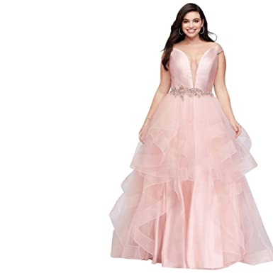 David\'s Bridal Mikado and Tulle Plunge Plus Size Prom Dress Style ...
