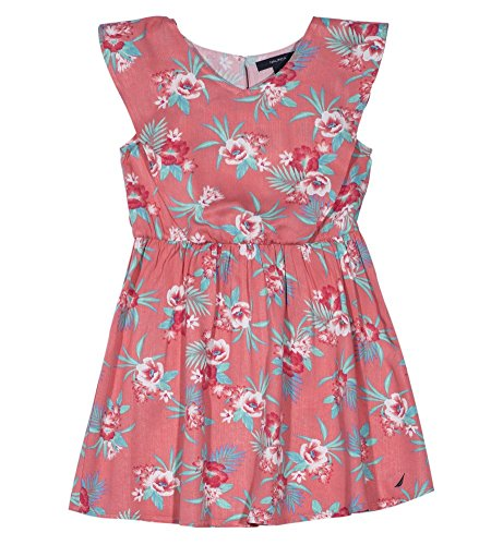 Nautica Girls' Toddler Short Sleeve Fashion Dress, Coral Florals, 3T