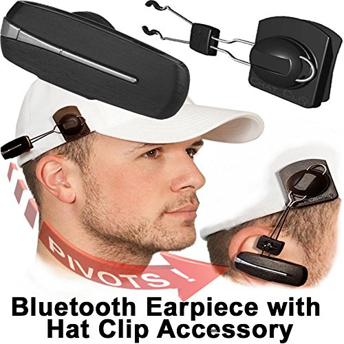 (Bluetooth Earpiece with Hat Clip Accessory, Speaks Incoming Number, Promotes Safer Hands Free Driving, Earpiece Can Be Worn on Hat with Accessory or on Ear With Ear Hook, Made in USA)