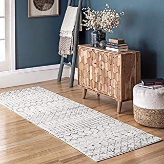 "nuLOOM Moroccan Blythe Runner Rug, 2' 8"" x 12', Grey/Off-white"