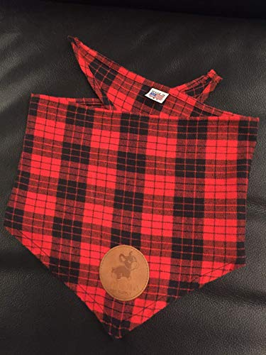Handmade in the USA Dog Bandana in Red and Black Plaid Southern Rustic Lumberjack Flannel Perfect for Fall or Winter - ()