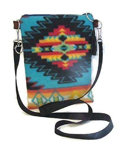 Native American Style Bag Crossbody Blue Aztec Fleece