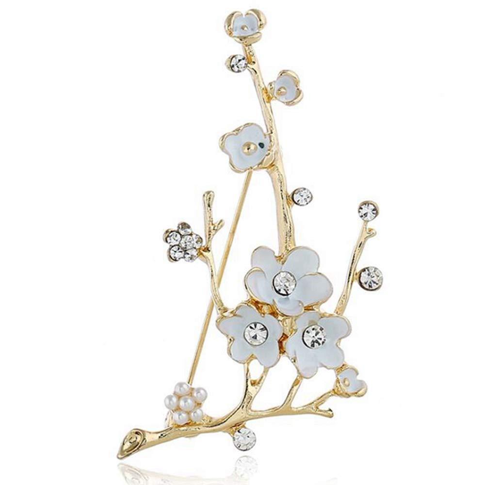 Sxuefang Brooch,Gold Retro Elegant Plum Brooch Stylish Paint Clothing Wearing Jewelry