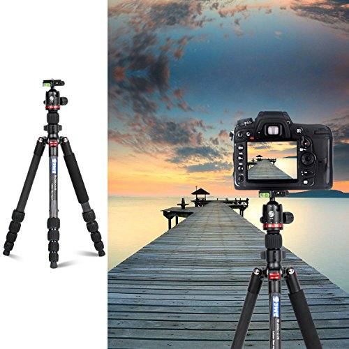 "3WE Lightweight Carbon Fiber Dslr Tripod, 360 Ball Head, 65"" Ultra Compact for Travel and Work,for Canon, Sony, Nikon, Olympus Devices,Camera Compact and Video Camera,Black"
