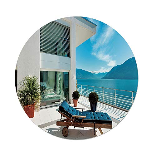 Cheap  iPrint Polyester Round Tablecloth,Travel Decor,Lake House Patio Balcony Mountain View Modern Design..