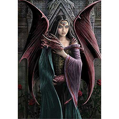 Moohue 14ct Counted Cross Stitch Kits Angel and Dragon DMC Cross Stitch Thread Fabric Needles Charts Living Room Home Decor (Angel and Dragon) Angel Cross Stitch Chart