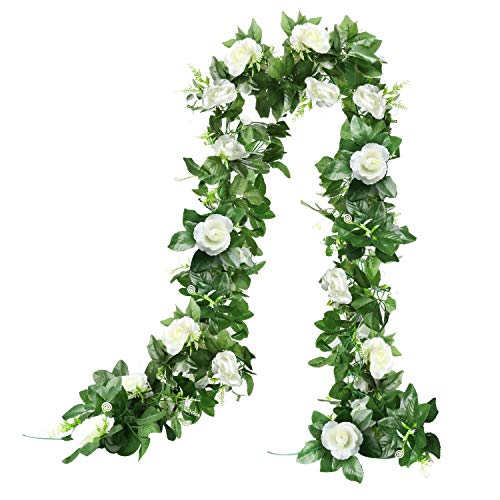 7.8FT Artificial Rose Vine Silk Flower Garland Realistic Artificial Flowers Fake Roses Flowers for Home Hotel Office Kitchen Wedding Party Garden Craft Art Decor (Pack of 2PCS)