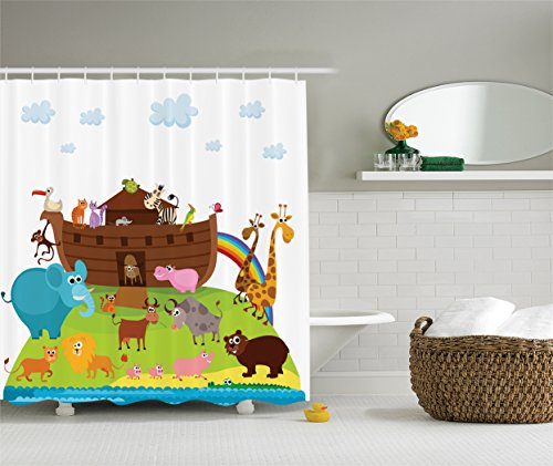 Ambesonne Noah's Ark Decor Collection, Safe Animals Two of Every Kind Boarding Noah's Ark Clip Art Design Print, Polyester Fabric Bathroom Shower Curtain, 75 Inches Long, White Blue Pink Brown