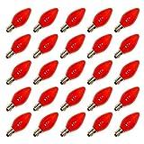 Pack of 25 7-Watt C9 Incandescent, Ceramic Red, Intermediate (E17) Base, Patio, Party, Christmas Light Bulb