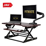 Fitmate Standing Desk - 34'' Height Adjustable Stand Up Desk Computer Riser with Retractable Keyboard Tray, Preassembled Sit Stand Desk, Elevating Desktop (Cherry)