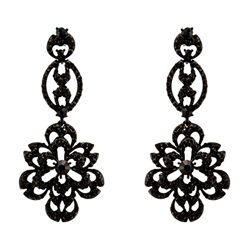 371-JET BLACK Fashion Party & Wedding Jewelry Tear Drop Dangle Chandelier Alloy Rhinestone Earrings