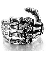 Men's Stainless Steel Ring Band Silver Black Skull Hand Bone Gothic