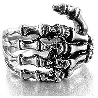 INBLUE Men's Stainless Steel Ring Band Silver Tone Black Skull Hand Bone