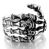 INBLUE Men's Stainless Steel Ring Band Silver Tone Black Skull Hand Bone