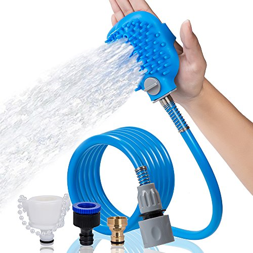 Pet Shower Sprayer with Brush, RVOKOMS Pet Bathing Tool with ON/OFF Switch for Dog, Cat, Horse Indoor/Outdoor Grooming, Massage with 8 Foot Hose and 3 Hose Adapters