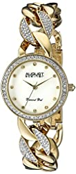 August Steiner Women's AS8190YG  Round Gold Mother of Pearl Dial Three Hand Quartz Movement Gold Tone Bracelet Watch
