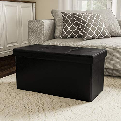 - Lavish Home 80-FOTT-7 Large Foldable Storage Bench Ottoman - Tufted Faux Leather Cube Organizer Furniture for Home, Bedroom, Living Room, Dorm or RV (Black),