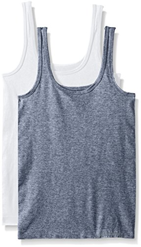 Ellen Tracy Women's Seamless Logo Tank Camisole, Heather Denim/White, Large (Pack Of 2)