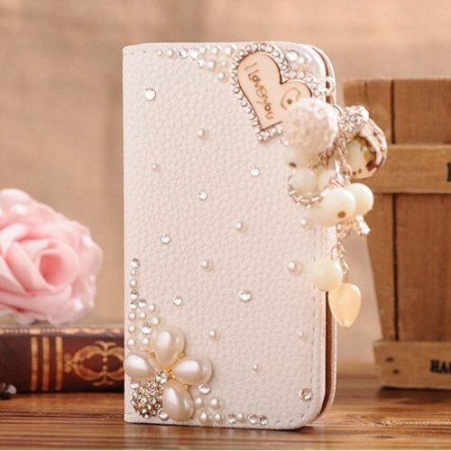 Galaxy Note 4 Case,Top Selling Stores White Luxury 3D Fashion Handmade Bling Crystal Rhinestone PU Flip Wallet Leather Case Cover for Samsung Galaxy note 4(I Love you Pearl Flower)