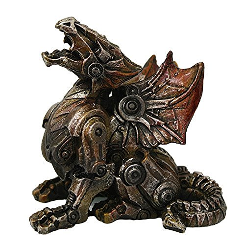 [Steampunk Metal and Gears Dragon Figurine Mythical Fantasy Decoration Steam Punk] (Steampunk Decorations)