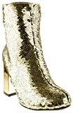 Forever Link Abigale 43 Womens Sequin Chunky Heel Ankle Booties Gold 7