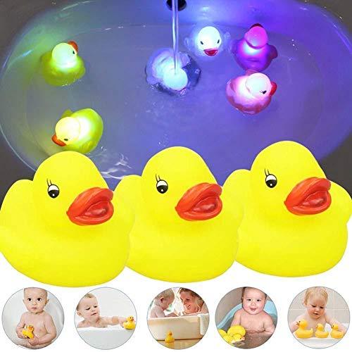 (RULONG 3Pcs Bathroom Tub Toy Flashing Rubber Duck LED Shine Watertight Ducks)