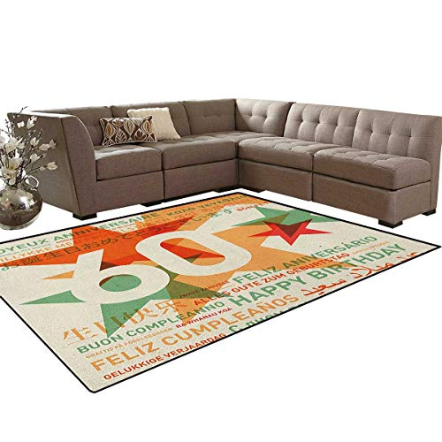 60th Birthday,Carpet,World Cities Birthday Party Theme with Abstract Stars Print,Indoor/Outdoor Area Rug,Green Vermilion and White -