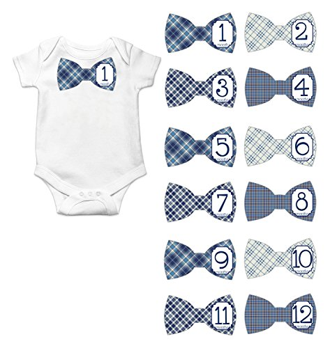 Gift Set of 12 Bowtie Keepsake Photography Monthly Baby Stickers with Blue Plaid Designs -