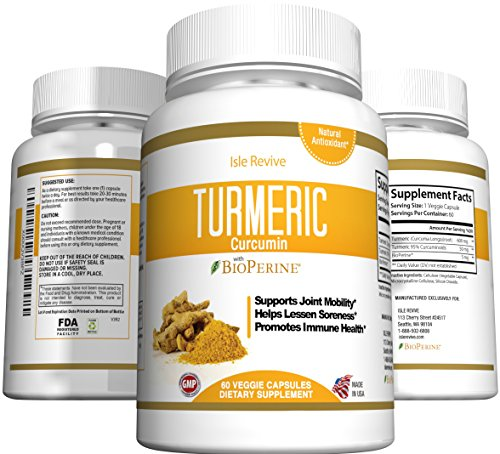 Turmeric Curcumin Powder Capsules - Extra Strength 95% Curcuminoids, Best Antioxidant - Potent Anti-Inflammatory for Heart, Joint and Brain Health, Non-GMO Vegetarian Dietary Supplement, Made in USA
