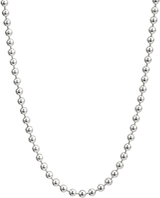 Solid 925 Sterling Silver 2mm Beaded Necklace 16