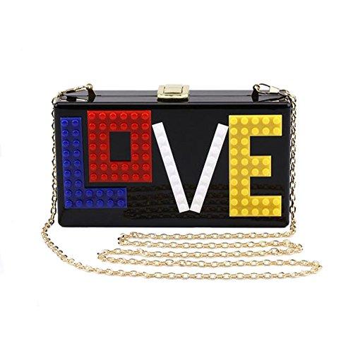 Angelliu Women's Rectangular Acrylic Lucite LOVE Evening Bag Party Clutch Handbag Black