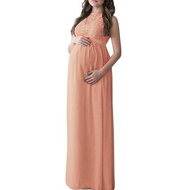 Schwangere Frau Lange Kleider YunYoud Damen Spitze Spleißen ...