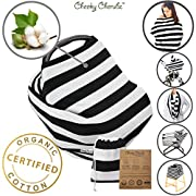 Organic Cotton Nursing Breastfeeding Cover Scarf, Baby Car Seat Canopy, Canopies, Shopping Cart, Stroller, Carseat Covers for Girls and Boys, Best Multi-Use Infinity Stretchy Shawl, Black, Shower gift