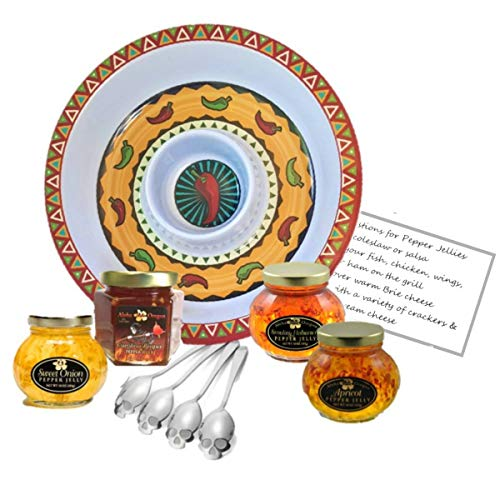Hot Pepper Jelly Serving Tray Gift Set Bundle - Carolina Reaper Sweet Onion Habanero Apricot Jelly | Chips Salsa Serving Tray | Skull Spoons (4) with recipe card