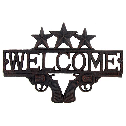 Heavy Cast Iron Welcome Sign Wall Hanging (Primitive Style - Bronze Rustic Finish)
