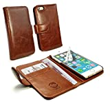 Tuff-Luv Personalised Vintage Genuine Leather Wallet-Style Case Cover for Apple iPhone 6 (free Screen Protector) - Brown