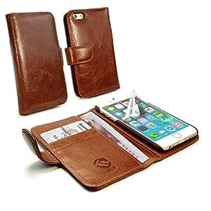 Tuff-Luv Personalizada ej. (Un nombre o inscripción de su elección) funda/cartera en piel 'Vintage' para Apple iPhone 6 (con protector de pantalla) - marrón