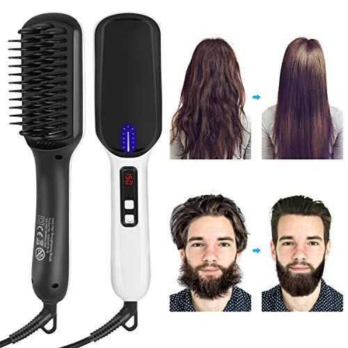 XREXS Ionic Hair Straightening Brush Beard Straightener Comb, Quick Hair Styler for Men and Women, Portable Ceramic Heated Beard Brush for Home or Travel, Fast Heating Dual Voltage