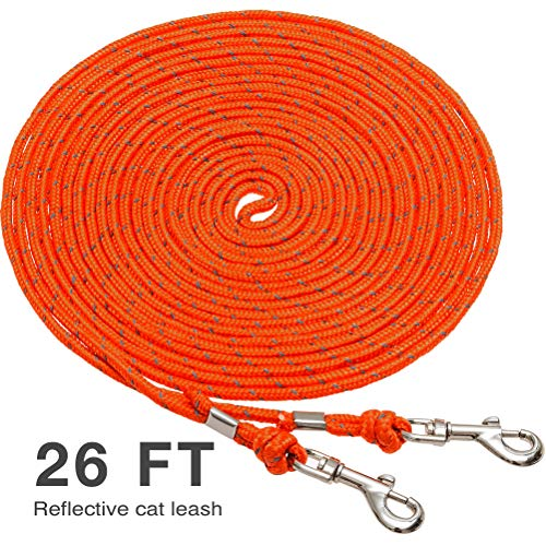 OFPUPPY Reflective Cat Tie Out Pet Rope Leash - Nylon Braided Cat Lead for Outside, Orange, 26 Feet