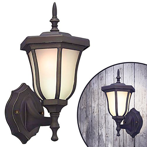 LED Energy Efficient Wall Lantern Oil Rubbed Bronze Finish Frosted White Glass, Traditional Look, (Led Lighting Company)