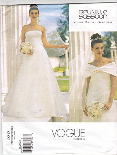 (Vogue 2717 Misses Petite Wedding Dress with Train and Drape Sewing Pattern Size 18-20-22)