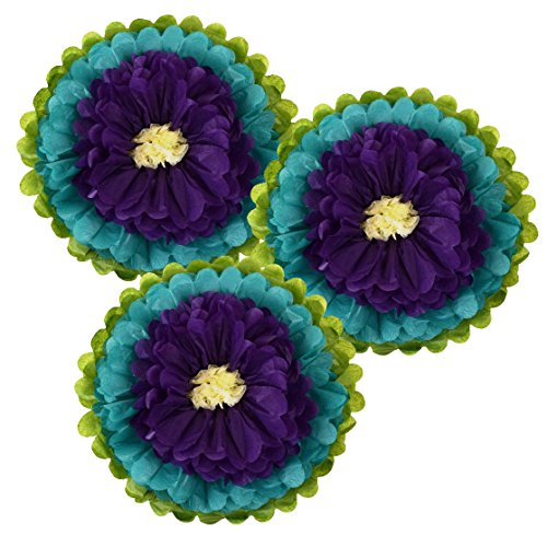 Just Artifacts Tissue Paper Flower Pom Poms (14inch, Set of 3) - Color Combination: Peacock Green Royal Purple Ivory