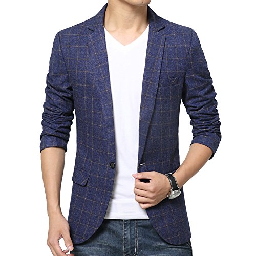 DeLamode Men's Plaid Checkered Gentleman Collar Marry Joyous Suit Blazer Blue S