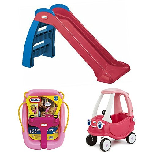 Little Girl's First Slide, Princess Cozy Coupe Riding Toy Car & Pink 2-in-1 Snug 'n Secure Swing, Little Tikes, Kids Outdoor Play, Active, Motor Skills, Imaginative Play, Fun Filled Games, Safe Cozy Swing