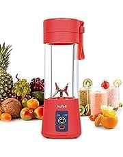 Bärbar mixer mini blandare smoothies shakes juicer kopp USB uppladdningsbara sex blad i 3D för superb blandning 380 ml (röd)